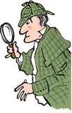 Detective. Sherlock holmes character looking through magnifier Royalty Free Stock Photo