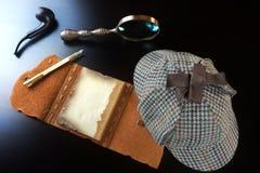Sherlock Holmes Concept Outils de détective privé Photographie stock