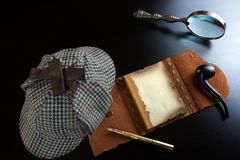Sherlock Holmes Concept. Private Detective Tools Stock Photo