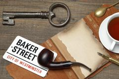 Sherlock Holmes Concept. Private Detective Tools On The Wood Tab Stock Photography