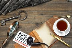 Sherlock Holmes Concept. Private Detective Tools On The Wood Tab Stock Images