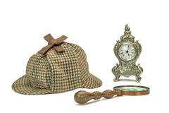 Sherlock Holmes Deerstalker Cap, Vintage Magnifying Glass And Ol Stock Images