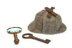 Sherlock Holmes Deerstalker Cap, Vintage Magnifying Glass And Ol Stock Photography