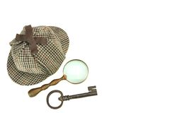 Sherlock Holmes Deerstalker Cap, Vintage Magnifying Glass And Ol. D Key Isolated On White Background. Investigation Concept Royalty Free Stock Images