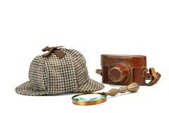 Sherlock Holmes Deerstalker Cap, Vintage Magnifying Glass And Re Stock Photos