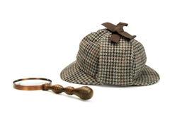 Sherlock Holmes Deerstalker Cap And Vintage-Vergrootglas ISO Royalty-vrije Stock Foto's