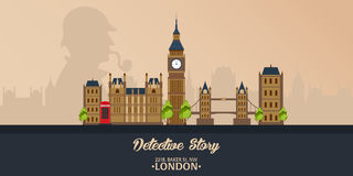Sherlock Holmes. Detective illustration. Illustration with Sherlock Holmes. Baker street 221B. London. Big Ban. royalty free illustration