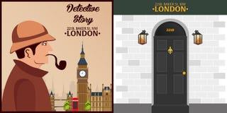 Sherlock Holmes. Detective illustration. Illustration with Sherlock Holmes. Baker street 221B. London. Big Ban. Stock Photo