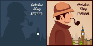 Sherlock Holmes. Detective illustration. Illustration with Sherlock Holmes. Baker street 221B. London. Big Ban. Royalty Free Stock Photo