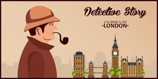 Sherlock Holmes. Detective illustration. Illustration with Sherlock Holmes. Baker street 221B. London. Big Ban. Stock Images