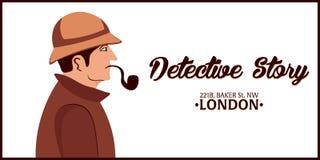 Sherlock Holmes. Detective illustration. Illustration with Sherlock Holmes. Baker street 221B. London. Big Ban. Royalty Free Stock Photography