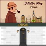 Sherlock Holmes. Detective illustration. Illustration with Sherlock Holmes. Baker street 221B. London. Big Ban. Royalty Free Stock Image