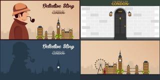 Sherlock Holmes. Detective illustration. Illustration with Sherlock Holmes. Baker street 221B. London. Big Ban. Stock Photography