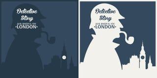 Sherlock Holmes Detektiv- illustration Illustration med Sherlock Holmes Bagaregata 221B London stort förbud royaltyfri fotografi