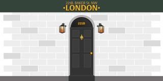 Sherlock Holmes Detektiv- illustration Illustration med Sherlock Holmes Bagaregata 221B London stort förbud royaltyfri illustrationer