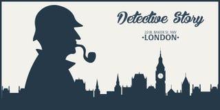 Sherlock Holmes Detektywistyczna ilustracja Ilustracja z Sherlock Holmes Piekarniana ulica 221B Londyn zakaz duży Fotografia Stock