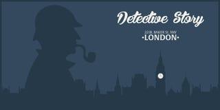 Sherlock Holmes Detektywistyczna ilustracja Ilustracja z Sherlock Holmes Piekarniana ulica 221B Londyn zakaz duży Obraz Stock