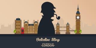 Sherlock Holmes Detektywistyczna ilustracja Ilustracja z Sherlock Holmes Piekarniana ulica 221B Londyn zakaz duży Obrazy Royalty Free