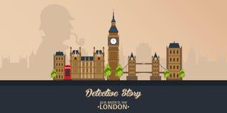 Sherlock Holmes Detektywistyczna ilustracja Ilustracja z Sherlock Holmes Piekarniana ulica 221B Londyn zakaz duży Obrazy Stock