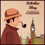 Sherlock Holmes Detektywistyczna ilustracja Ilustracja z Sherlock Holmes Piekarniana ulica 221B Londyn zakaz duży Zdjęcie Royalty Free