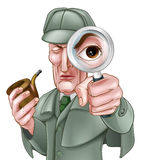 Sherlock Holmes Detetive Cartoon Imagem de Stock Royalty Free