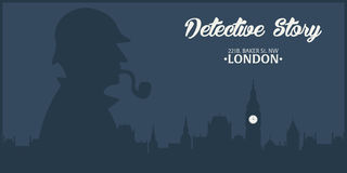 Sherlock Holmes Illustration révélatrice Illustration avec Sherlock Holmes Rue 221B de Baker Londres GRANDE INTERDICTION Image stock