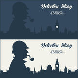 Sherlock Holmes Illustration révélatrice Illustration avec Sherlock Holmes Rue 221B de Baker Londres GRANDE INTERDICTION Photographie stock libre de droits