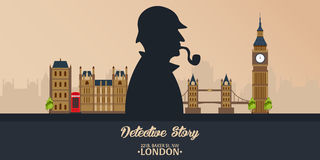 Sherlock Holmes Illustration révélatrice Illustration avec Sherlock Holmes Rue 221B de Baker Londres GRANDE INTERDICTION Images libres de droits