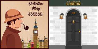 Sherlock Holmes Illustration révélatrice Illustration avec Sherlock Holmes Rue 221B de Baker Londres GRANDE INTERDICTION Photo stock