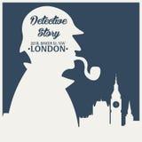 Sherlock Holmes Ilustração do detetive Ilustração com Sherlock Holmes Rua 221B do padeiro Londres PROIBIÇÃO GRANDE Foto de Stock Royalty Free