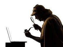Sherlock holmes laptop computer silhouette Stock Image