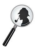 Sherlock Holmes In Magnifying Glass Imagem de Stock