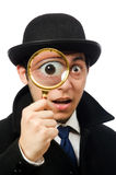 Sherlock Holmes with magnifying glass isolated on Stock Image