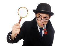 Sherlock Holmes with magnifying glass isolated on Stock Photos