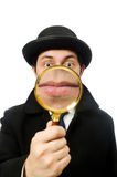 Sherlock Holmes with magnifying glass isolated on Royalty Free Stock Photography