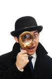 Sherlock Holmes with magnifying glass isolated on Royalty Free Stock Photo