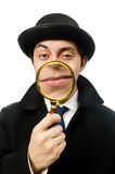 Sherlock Holmes with magnifying glass Stock Images