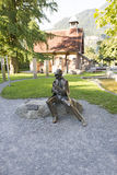 Sherlock Holmes Museum, Meiringen. Sherlock Holmes statue at the Sherlock Holmes Museum in Meiringen Switzerland. Meiringen is a town and municipality in canton Stock Photo