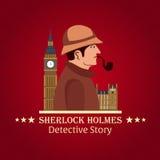 Sherlock Holmes plakat Detektywistyczna ilustracja Ilustracja z Sherlock Holmes Piekarniana ulica 221B Londyn zakaz duży Obrazy Royalty Free