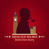 Sherlock Holmes plakat Detektywistyczna ilustracja Ilustracja z Sherlock Holmes Piekarniana ulica 221B Londyn zakaz duży Obraz Stock