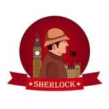 Sherlock Holmes plakat Detektywistyczna ilustracja Ilustracja z Sherlock Holmes Piekarniana ulica 221B Londyn zakaz duży Zdjęcie Royalty Free