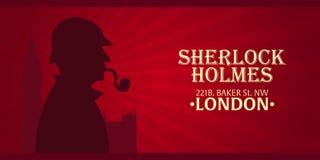 Sherlock Holmes plakat Detektywistyczna ilustracja Ilustracja z Sherlock Holmes Piekarniana ulica 221B Londyn zakaz duży Obraz Royalty Free