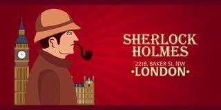 Sherlock Holmes plakat Detektywistyczna ilustracja Ilustracja z Sherlock Holmes Piekarniana ulica 221B Londyn zakaz duży Zdjęcia Royalty Free