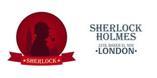 Sherlock Holmes plakat Detektywistyczna ilustracja Ilustracja z Sherlock Holmes Piekarniana ulica 221B Londyn zakaz duży Fotografia Stock