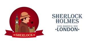 Sherlock Holmes plakat Detektywistyczna ilustracja Ilustracja z Sherlock Holmes Piekarniana ulica 221B Londyn zakaz duży Obrazy Stock