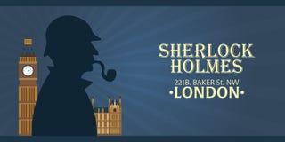 Sherlock Holmes plakat Detektywistyczna ilustracja Ilustracja z Sherlock Holmes Piekarniana ulica 221B Londyn zakaz duży Zdjęcia Stock