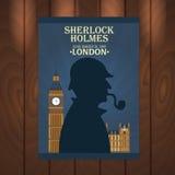 Sherlock Holmes plakat Piekarniana ulica 221B Londyn zakaz duży Obrazy Stock