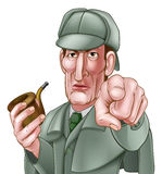Sherlock Holmes Pointing Cartoon Stock Images