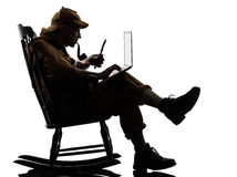 Sherlock holmes silhouette computing Stock Photography