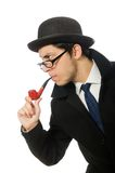 Sherlock Holmes with smoking pipe isolated on the Stock Photo